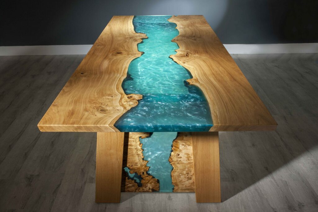 West Coast river dining table, sea blue resin.