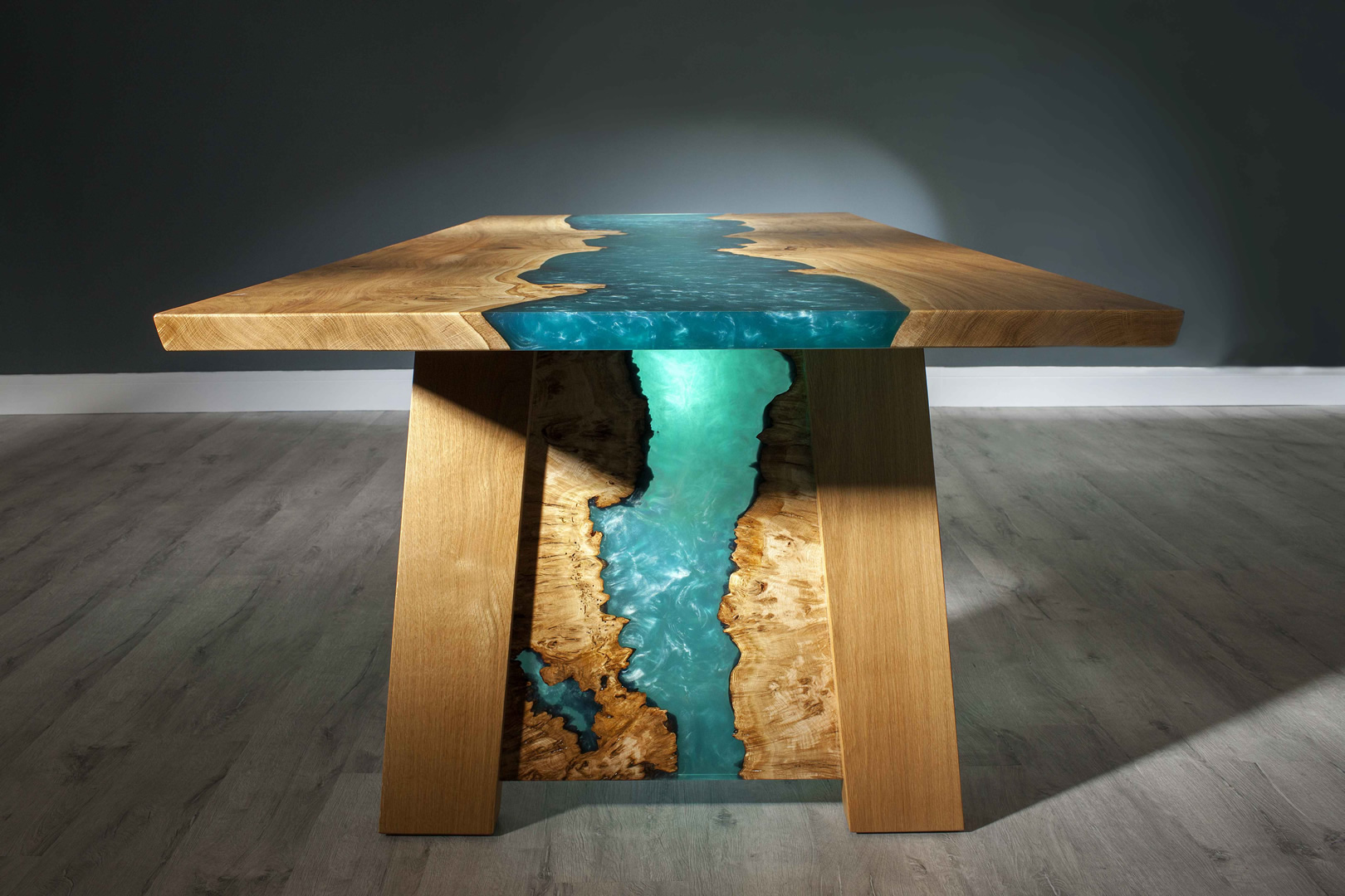 West coast river dining table sea blue resin